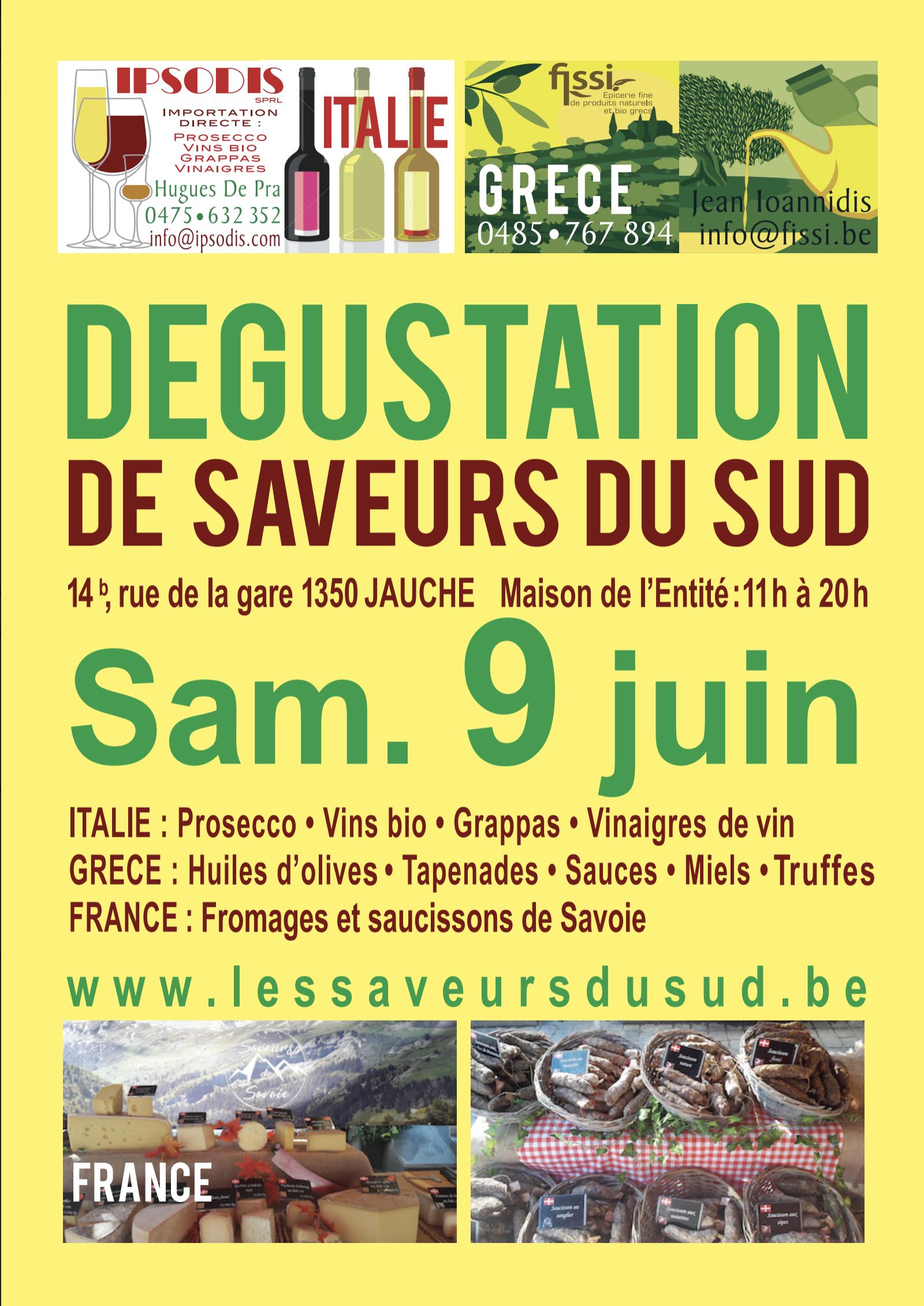 Les Saveurs du Sud à Jauche, le samedi 9 juin 2018  - vins et produits de terroir - Italie, Grèce, France