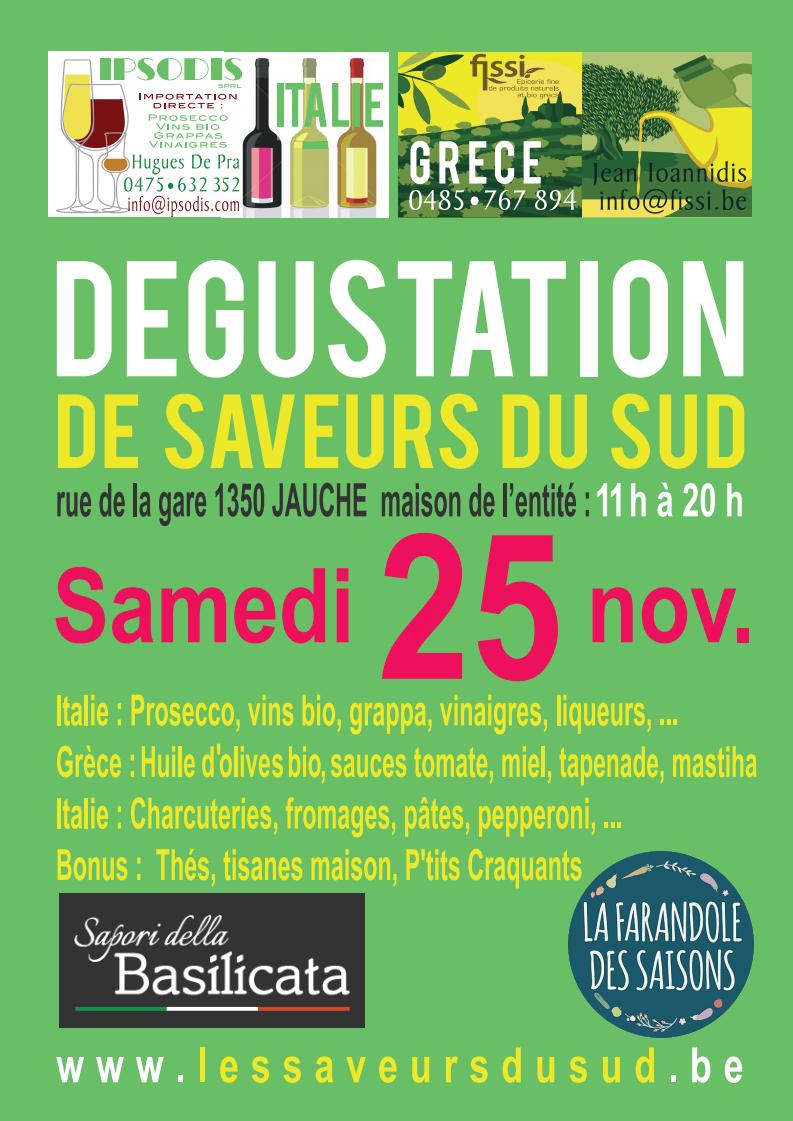 Les Saveurs du Sud à Jauche, le samedi 25 novembre 2017  - vins et produits de terroir - Italie, Grèce, France