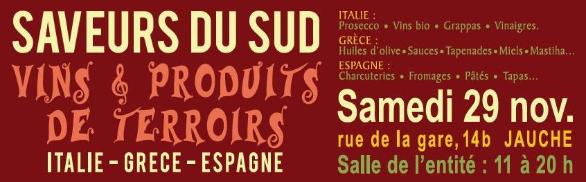 D�gustation Grappa, Prosecco & vins bio + produits fins grecs & espagnols le samedi 29 novembre de 11h � 20h � Jauche